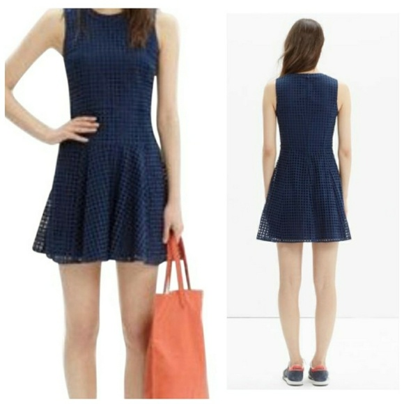 Navy Blue Lace Eyelet Dress